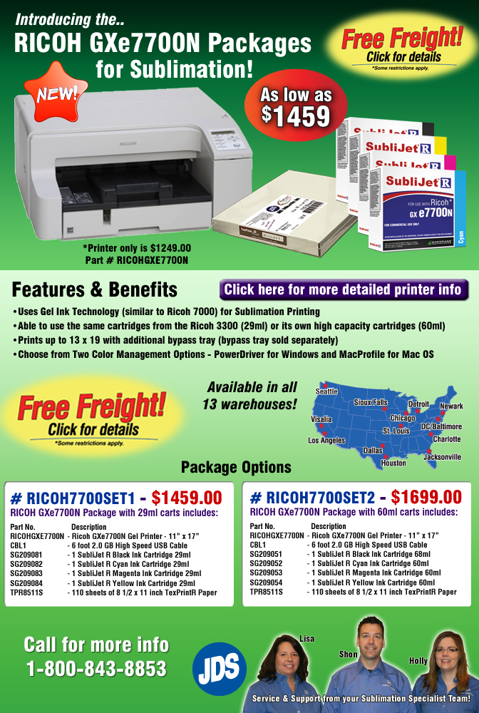 JDS Industries, Inc  - The NEW Ricoh GXe7700N Sublimation